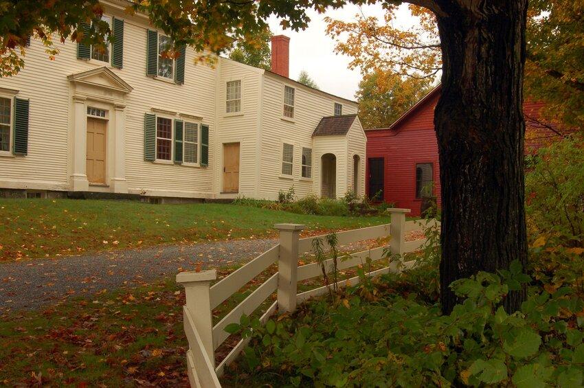 White-clad exterior of Franklin Pierce homestead