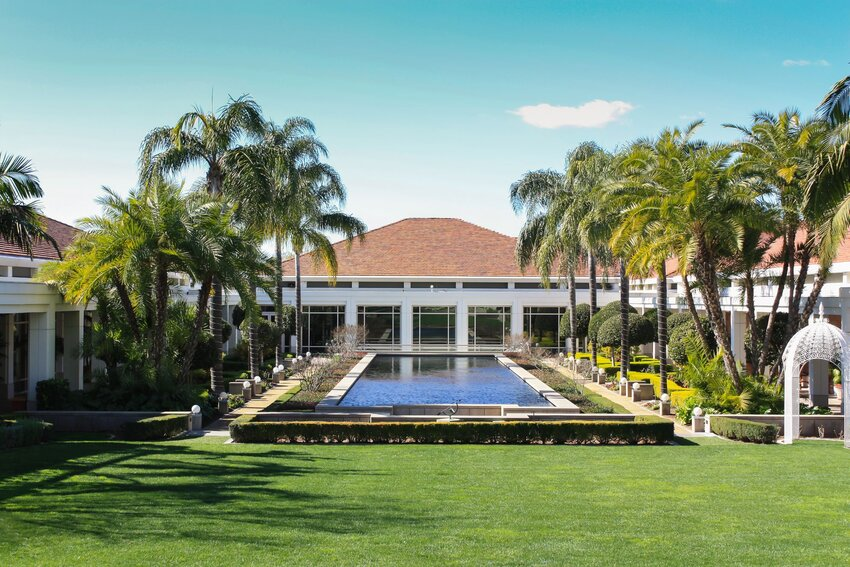 Richard Nixon Presidential Library with pool and palm trees in Yorba Linda, California