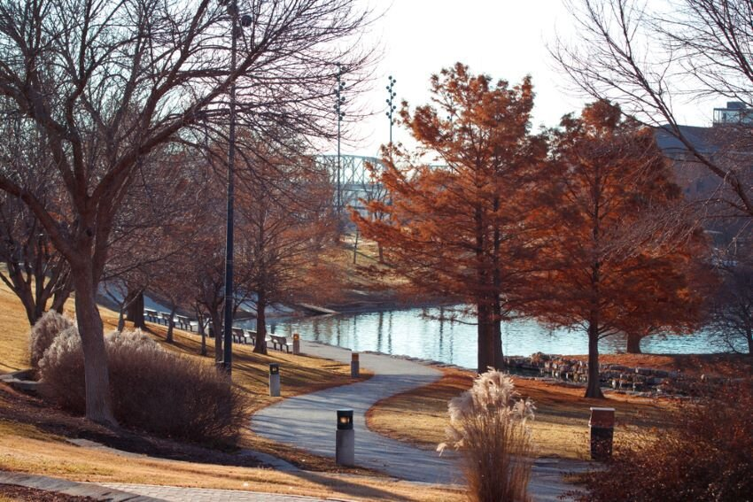 Park and Lake in Fall Omaha Nebraska.