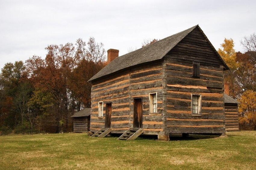 Historic log cabin home at birthplace of James Polk in Pineville, North Carolina