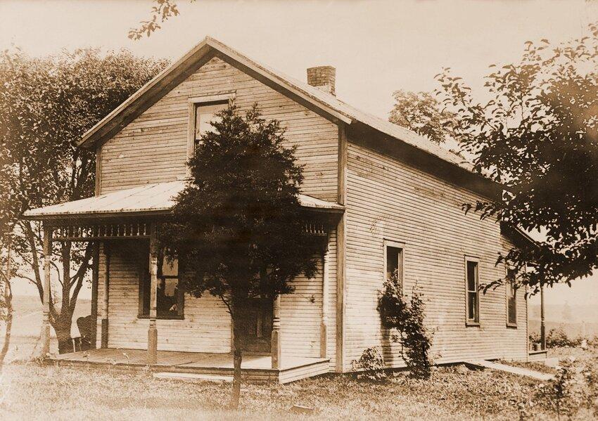 Vintage photo of Warren Harding childhood home in Blooming Grove, Ohio