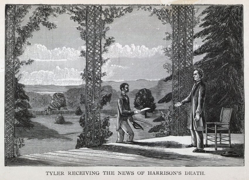 Illustration of John Tyler on his porch receiving the news of William Henry Harrison's death
