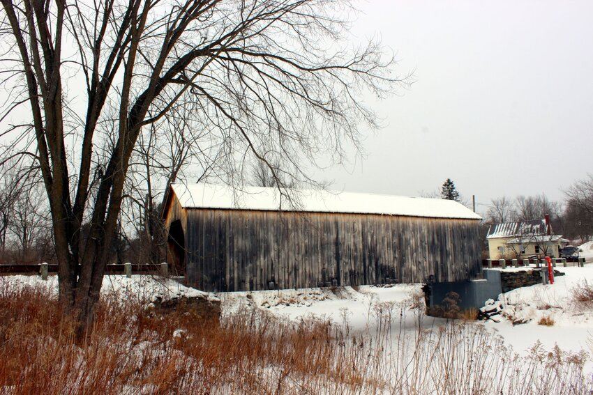 Snowy landscape and covered bridge in Fairfield, Vermont