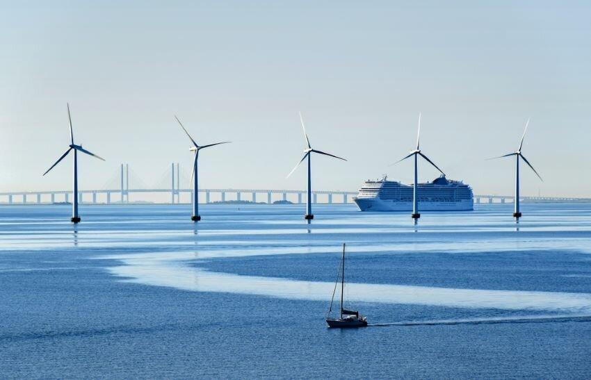 Turbines near the Oresund Bridge between Denmark and Sweden.