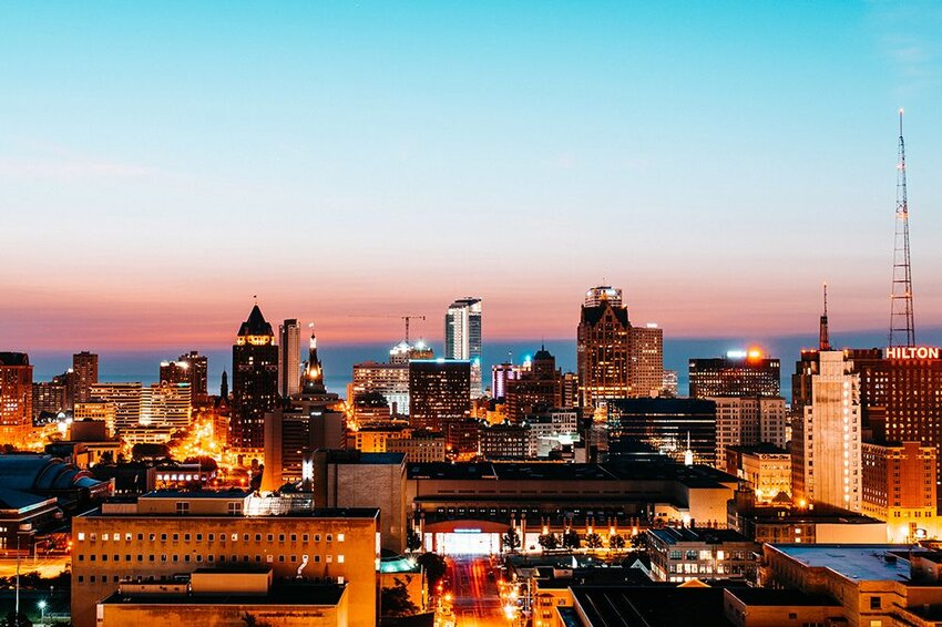 Sunrise over the skyline of Milwaukee, Wisconsin