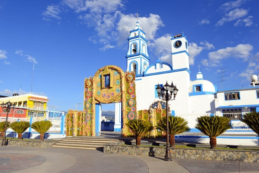 Colorful Church with blue sky background.