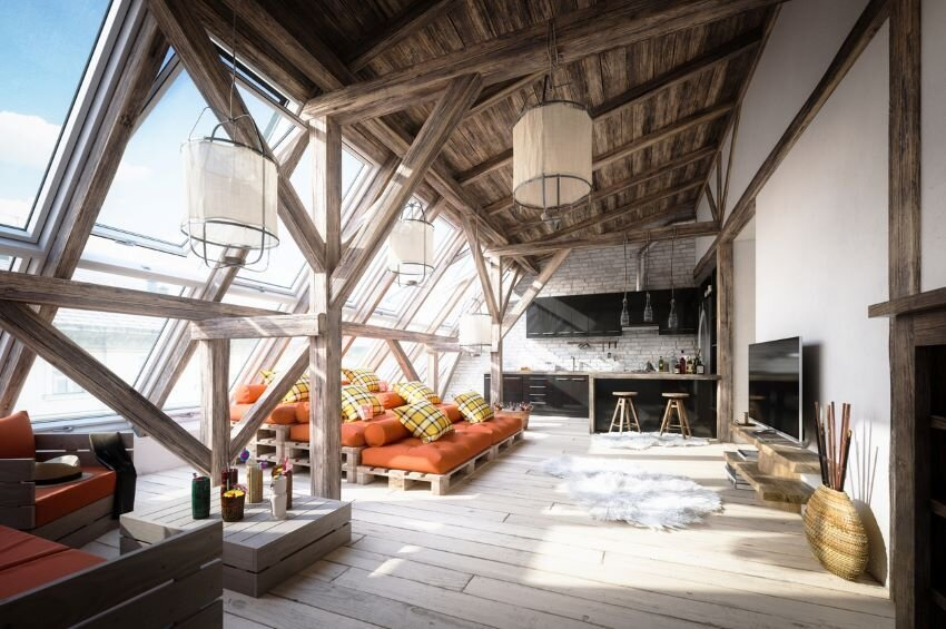 Scandinavian attic interior.