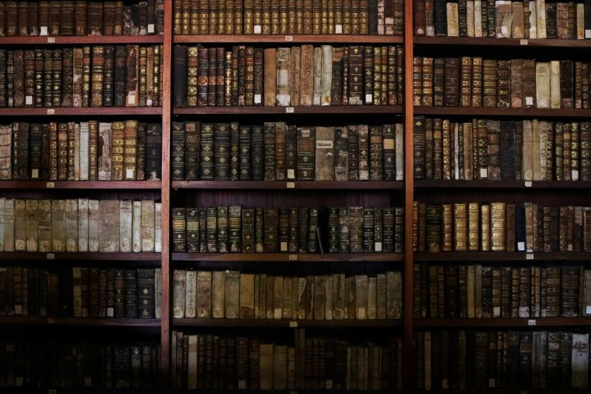 Old books organized in a library bookshelf.