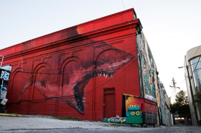 A mural by artist Shark Toof in the 600 block of the Central Avenue alley, St. Petersburg, Florida