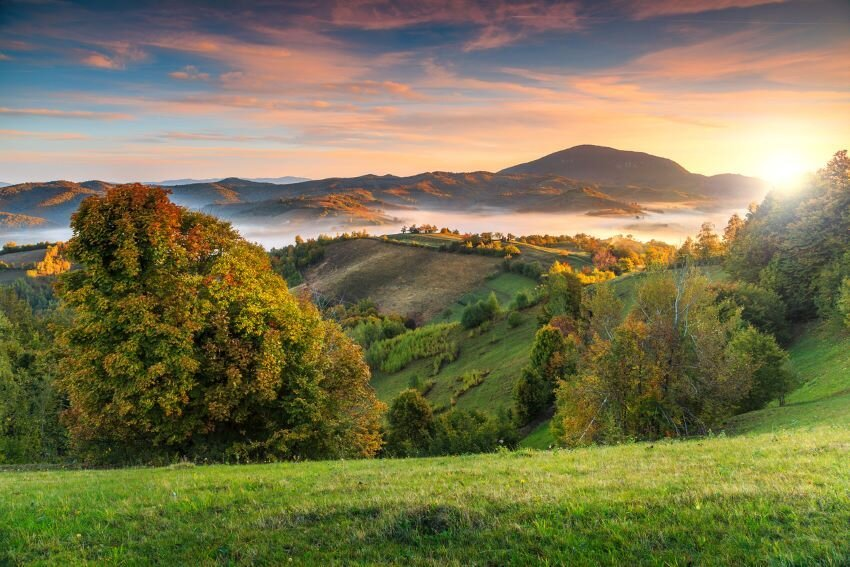 Autumn nature landscape in Carpathians,Transylvania.