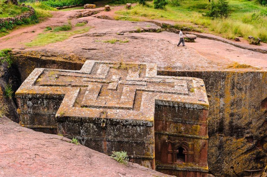 Church of St. George, one of eleven monolithic churches in Lalibela, Ethiopia.
