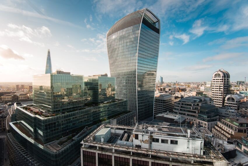 View of the iconic Walkie Talkie building, London.