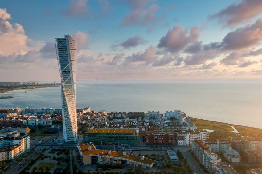Ariel view of Turning Torso building in Malmö, Sweden