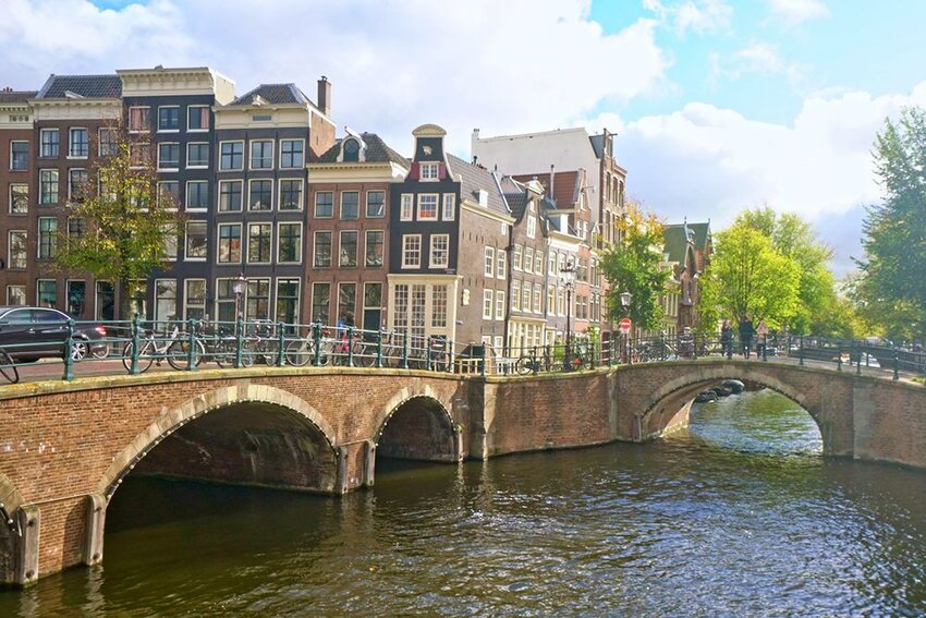 View of Brouwersgracht Amsterdam canal on a sunny day.