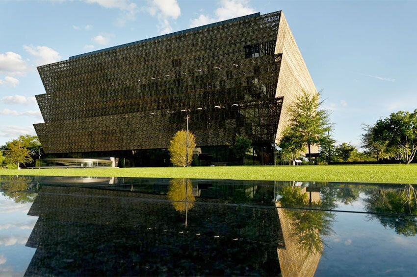 Outside view of The Smithsonian National Museum of African American History and Culture in Washington, DC.