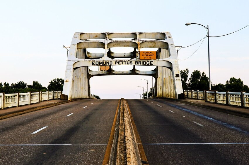 The Edumund Prettus Bridge in Alabama, with no cars or people.