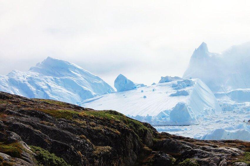 Rocky ridge and glaciers in Ilulissat.