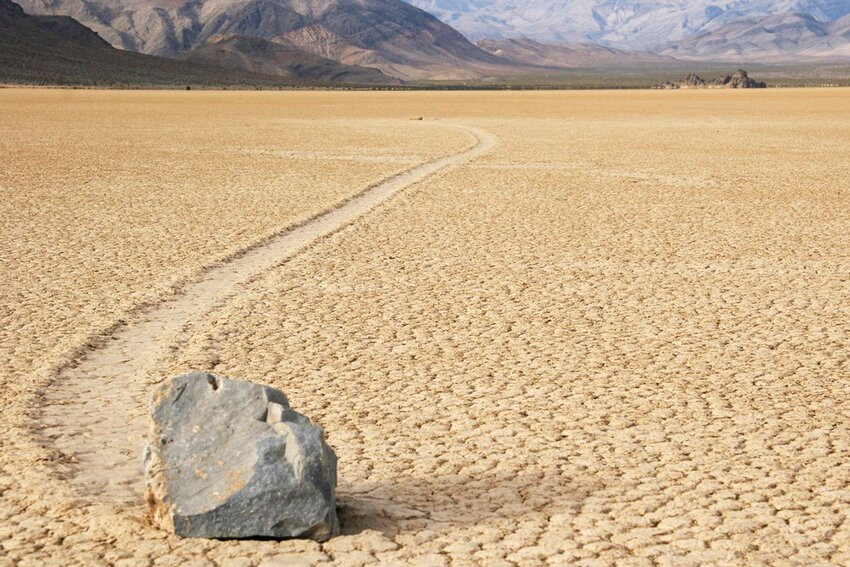 A moving rock of Death Valley in California.