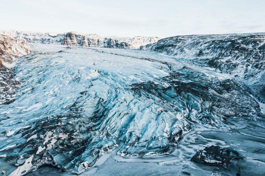 Aerial view of glacier iceland Sólheimajökull.