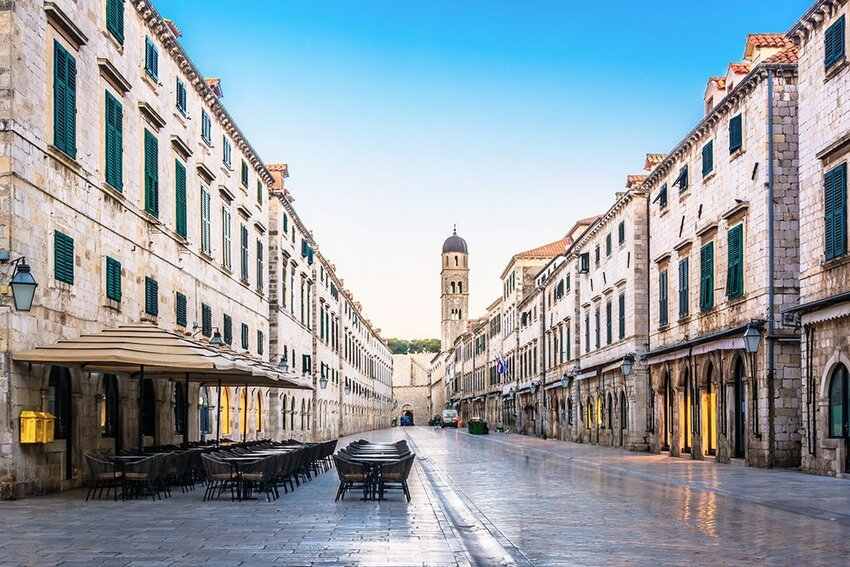 View of the empty streets of Stradun in Dubrovnik, Croatia.