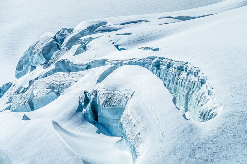 Sublime ice and snow formations and landscapes of the Aletsch glacier.