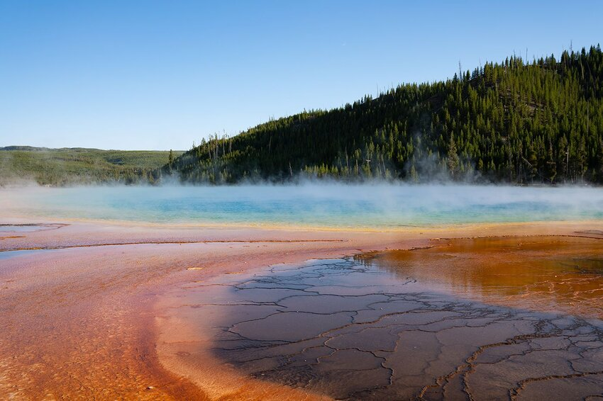 Close-up of a geyser in Yellowstone National Park, United States