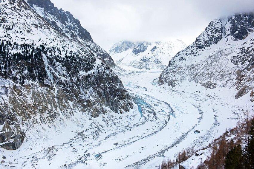 Glacier Mer de Glace in Mont Blanc massif, France.