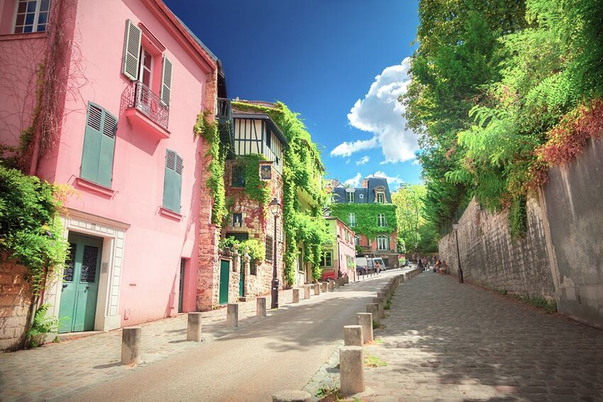 The colorful buildings on Montmartre in Paris, France.
