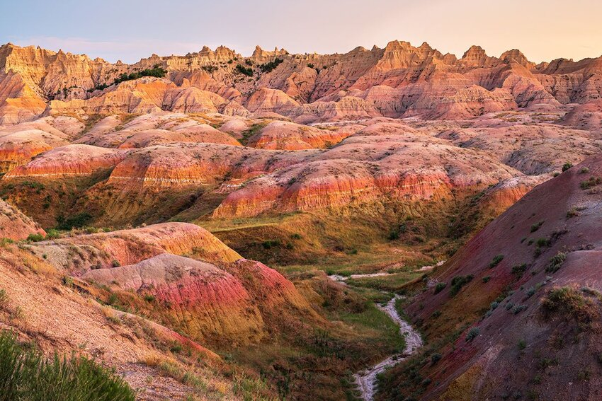 Late afternoon colors on display in the Yellow Mounds region of Badlands National Park.