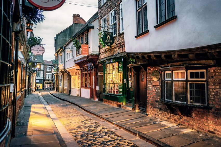 The Shambles and shops in the city of York, England.