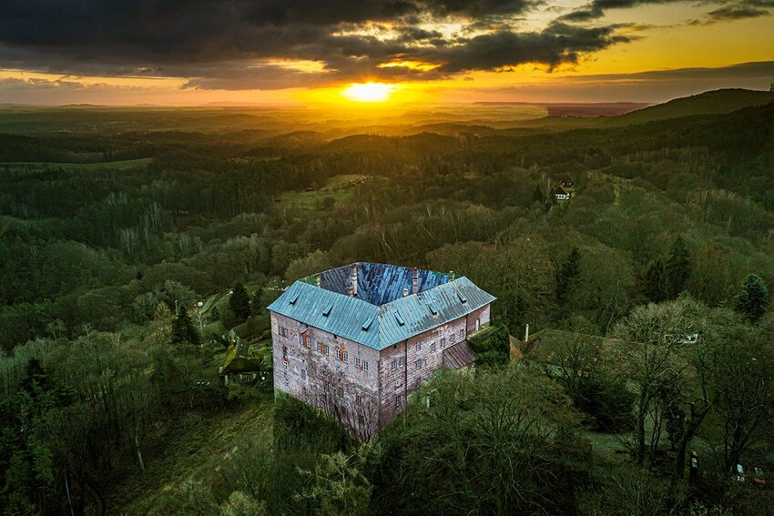Houska Castle and the nearby countryside in the Central Bohemian region in the Czech Republic.