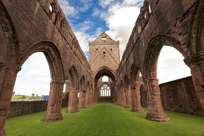 The Sweetheart Abbey in Scotland.
