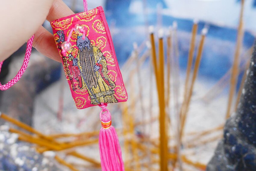 Taipei Xia Hai City God temple with a religious decoration, an amulet of love.
